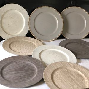 Set of 6 plate chargers gray, natural, whitewash